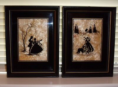 Vintage Group of 2 Reverse Painted Framed Silhouettes Gold Crinkled Background