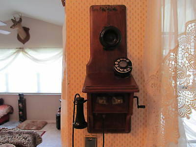 Antique Western Electric  Wall Crank Telephone Converted to Dial