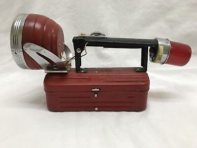 Vintage Collectible Red Lantern Style Flashlight Swivel Lamp Signal Hong Kong