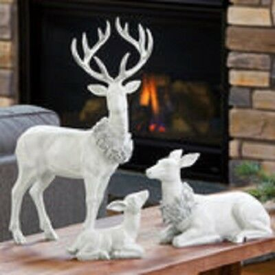 Indoor Tabletop Christmas Deer Family Beautifully hand painted Set Of 3 Pieces
