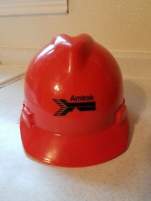 Red Amtrak Train Work Plastic Hard Hat