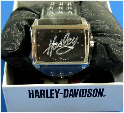 "Harley-Davidson New  Ladies  Bulova Watch Square Face Leather Band  ""Quartz"""