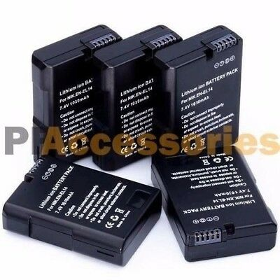 5 Pcs EN-EL14 Rechargeable Battery Pack for Nikon D5500 D5300 D3200 D5300 DF