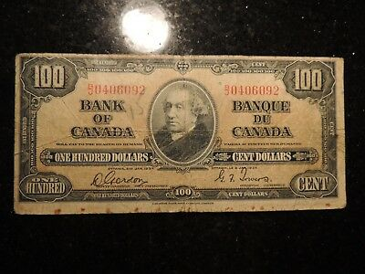 1937 BANK OF CANADA $100 ONE HUNDRED DOLLARS GORDON TOWERS B/J 0406092 BC-27b