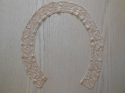 "Hand Crochet Beige Lace Vintage Shawl Collar, 41 1/2"" Neck, 3"" Wide"