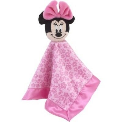 Disney Baby Minnie Mouse Lovey Pink Flowers Security Blanket Rattle New NWT