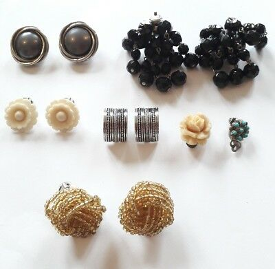 Job lot of clip-on earrings - 5 pairs and 2 random single ones - please see pic
