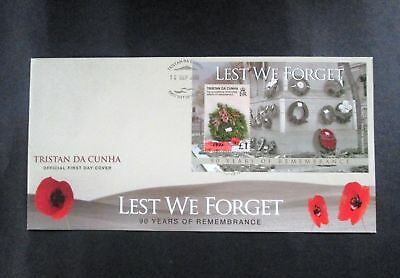 "Tristan da Cunha - ""WORLD WAR I ~ LEST WE FORGET"" MS FDC 2008 !"
