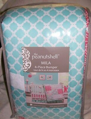 "NIP THE PEANUT SHELL the peanutshell "" MILA "" 4 PIECE CRIB BUMPER SET"
