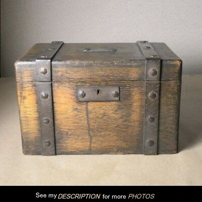 Antique Mission Oak Wrought Iron Strap BOX humidor Art & Crafts