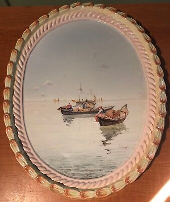 ANTIQUE DELFT HAND PAINTED OVAL PLAQUE WITH HARBOR SCENE ARTIST SIGNED- 1830's