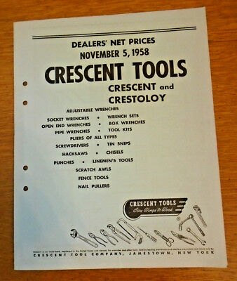 1958 Crescent Tools Dealers' Net Price List - Nice Cond. (13-122)
