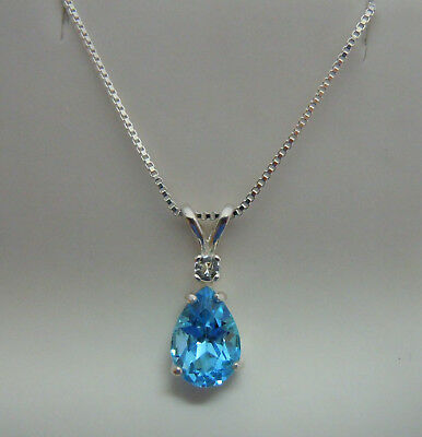 Genuine SWISS BLUE AND WHITE TOPAZ pendant chain STERLING SILVER necklace 10x7