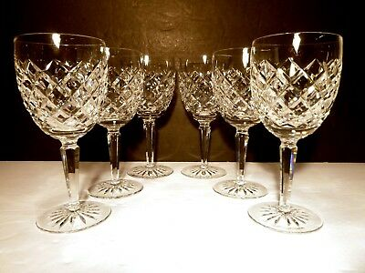 *VINTAGE* Waterford Crystal COMERAGH (1973-) Set of 6 Water Goblets 7""