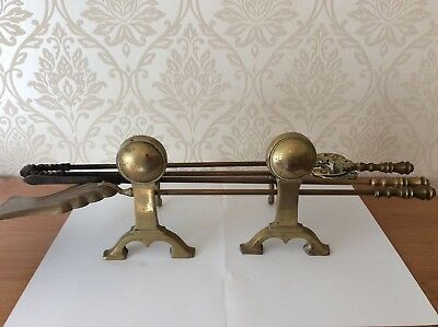 Antique 5 Piece Solid Brass Fireside Fireplace Companion Stand Set