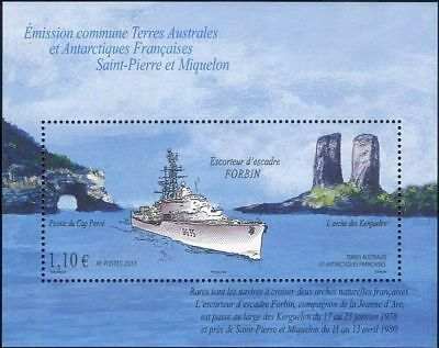 "French Antarctic TAAF - SP & M Joint Issue ""FORBIN ~ FRENCH SHIPS"" MS 2011"