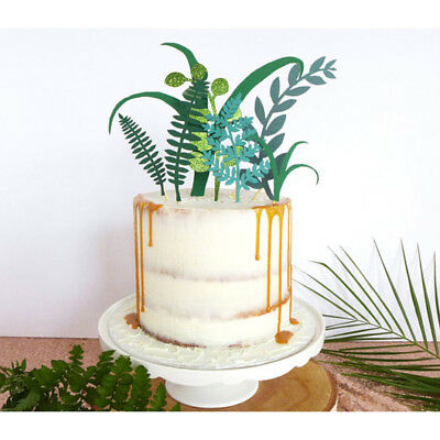 green plant cake toppers laser cupcake flags party decor birthday supplies-QY