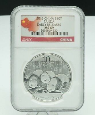 2013 China Silver 10 Yuan Panda NGC Graded MS69 Early Releases 1 oz .999 Silver