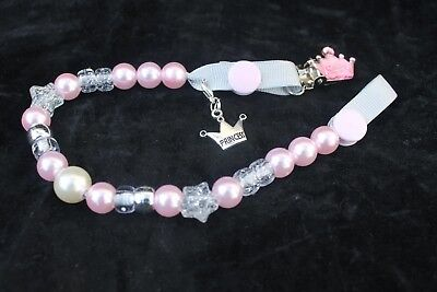 lillb'ees baby  girl  dummy/ pacifier clip  pink / silver pearl princess charn