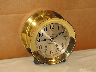 Seth Thomas Antique Ships Bell Clock~6 In ~1945~Ww2 Victory Ship~Chelsea Key