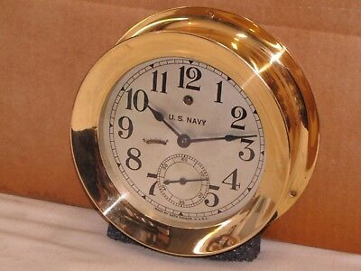 "Seth Thomas U.s. Navy Pilot House Clock ~6"" Dial~Ww1 1914~Chelsea Key"