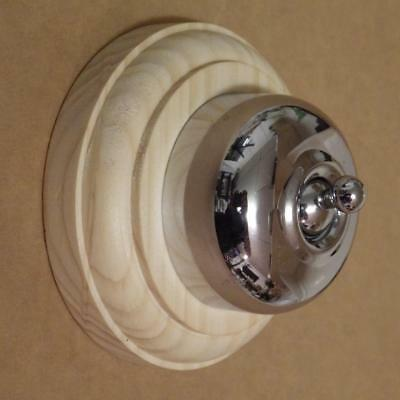smooth chrome deco,victorian light switch, on pine round wood block,new,5774