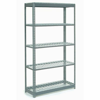 "Boltless Heavy Duty Shelving 48""W x 24""D x 60""H, 5 Shelves, Wire Deck, Lot of 1"
