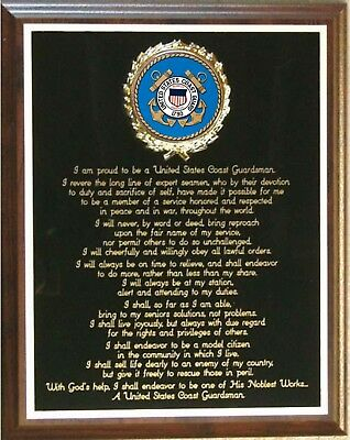 Coast Guard Gift Or Award ~ Us Coast Guard Creed Wall Plaque ~ Uscg