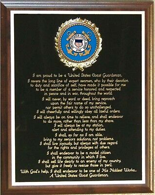 USCG / UNITED STATES COAST GUARD CREED PLAQUE - Great Gift or Award