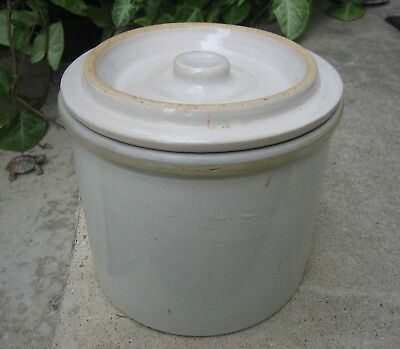 Antique Stoneware One Gallon Crock with Lid Country Decor ~ Excellent!