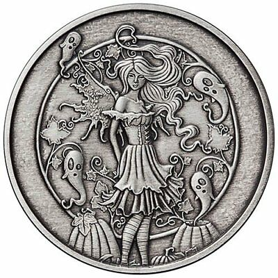 Amy Brown Collection - Haunted Pumpkin Patch 5 oz Silver Antiqued Finish Round