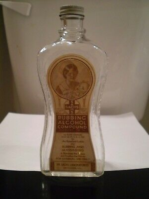 ANTIQUE SACHS BRAND RUBBING ALCOHOL BOTTLE PAPER LABEL - AWESOME!  Free Ship