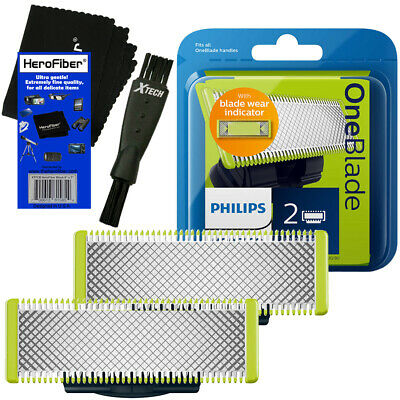 Philips Norelco OneBlade Replaceable Blades (2 Pack) + Shaver Brush + HeroFiber