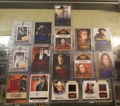 2014 Panini Country Music Auto Autograph Relic Used #/d, x15 Card Lot STARS LOOK