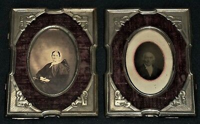 Vintage 1900's Pair of Matching Metal Frames w/1800's Photos