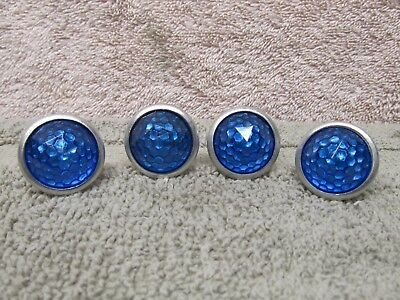 "4 VINTAGE REFLECTORS, 1"" BLUE JEWEL DOME, for license plates, bikes, cars"