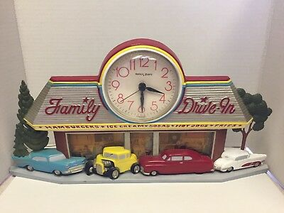 Vintage Homco Clock 1988 Coca Cola Family Drive In Sign Burwood Products Co 2899