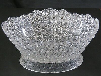 "Antique EAPG Hobbs Brockunier Glass Daisy & Button 12"" Master Berry Fruit Bowl"