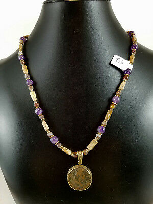 Ancient Roman coin pendant necklace Tiberius amethyst I DO NOT DAMAGE COIN