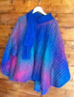 vintage blue,green and pink mohair poncho