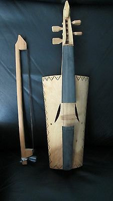 """Unique 21""""  Handmade Carved Wood Violin Guitar With Bow Art Sculpture Wall Art"""