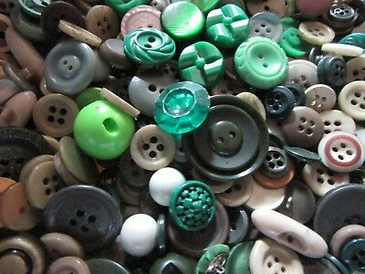 Antique Vintage Modern Mix of Sewing Buttons in Shades of Green 1 lb Lot