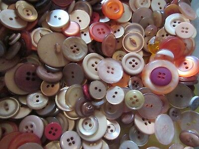 Antique Vintage Modern Mix of Sewing Buttons in Shades of Orange 1 lb Lot