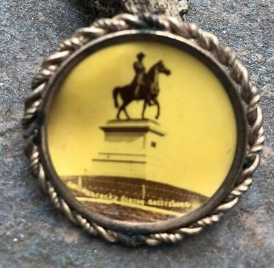 General Hancock's Statue Gettysburg PA Celluloid Pin Badge Button Vintage