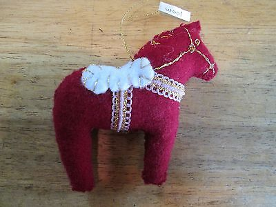Dala Horse ornament Dark Red gold embroidery + Scandinavian swedish handcrafted