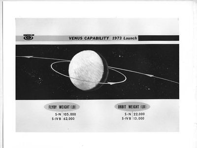 *I65 VINTAGE 8X10 NASA 60s GRAPHIC SPACE ROCKET VENUS LAUNCH ILLUSTRATION PHOTO