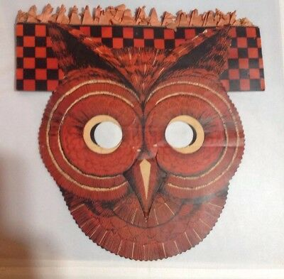 Vintage Halloween Owl Mask 1940's Crepe Paper Headpiece Not A Reproduction