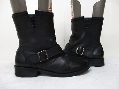 51162d93283b MIA Black Leather Zip Moto Riding Engineer Buckle Strap Ankle Boots Size 7 M
