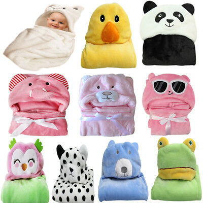 US Newborn Toddler Baby Warm Hooded Wrap Blanket Cartoon Animal Bathrobe Towel