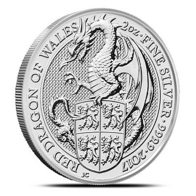 2017 British 2 oz Silver Queen's Beast Red Dragon quantity of 3 in capsules